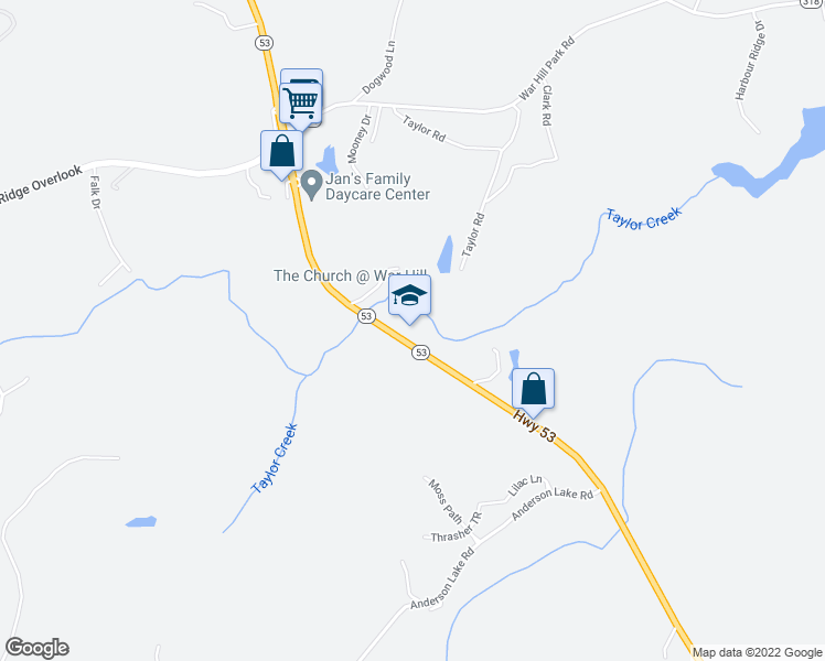 map of restaurants, bars, coffee shops, grocery stores, and more near 8847 Highway 53 East in Dawsonville