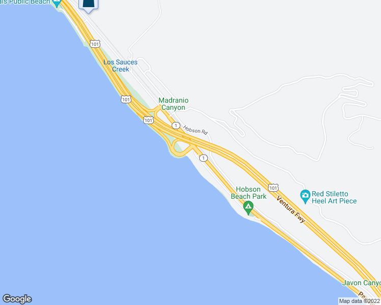 map of restaurants, bars, coffee shops, grocery stores, and more near 5518 Rincon Beach Park Drive in Ventura
