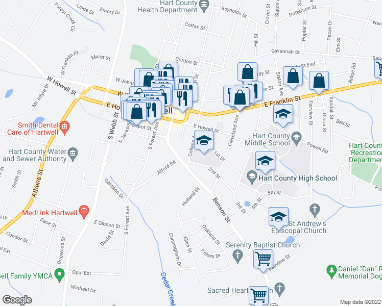map of restaurants, bars, coffee shops, grocery stores, and more near 147 College Avenue in Hartwell