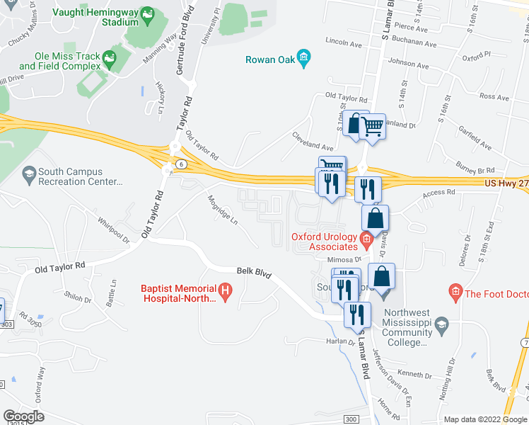 map of restaurants, bars, coffee shops, grocery stores, and more near 801 Frontage Road in Oxford