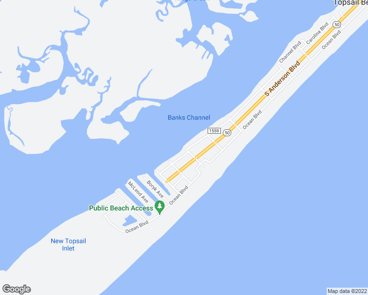 map of restaurants, bars, coffee shops, grocery stores, and more near 1522 Carolina Boulevard in Topsail Beach