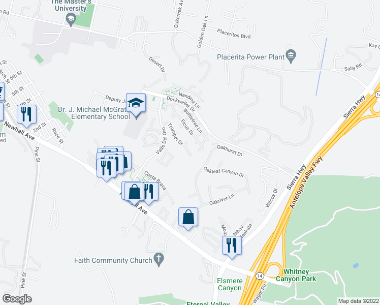 map of restaurants, bars, coffee shops, grocery stores, and more near 21203 Trumpet Drive in Santa Clarita