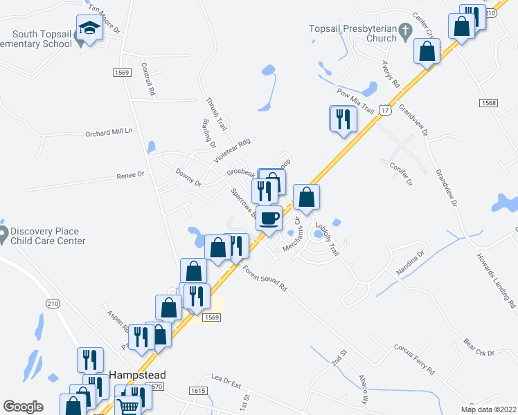 map of restaurants, bars, coffee shops, grocery stores, and more near 75 Siskin Circle in Hampstead