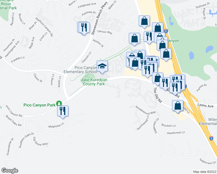 map of restaurants, bars, coffee shops, grocery stores, and more near 25259 Belleza Court in Stevenson Ranch