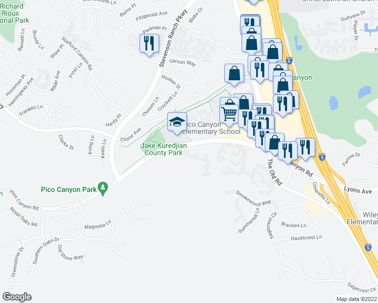 map of restaurants, bars, coffee shops, grocery stores, and more near 25360 Avanti Court in Stevenson Ranch