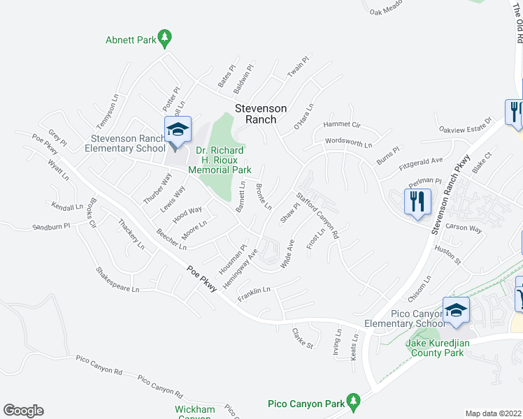 map of restaurants, bars, coffee shops, grocery stores, and more near 25713 Bronte Lane in Stevenson Ranch