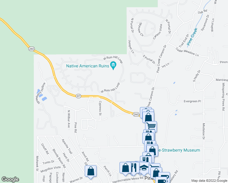 map of restaurants, bars, coffee shops, grocery stores, and more near 6373 West Ruin Hill Loop in Pine