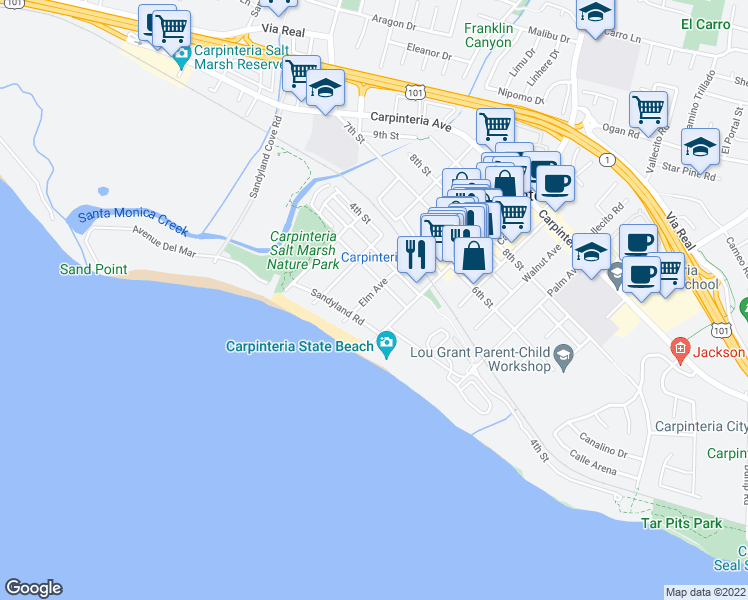 map of restaurants, bars, coffee shops, grocery stores, and more near 220 Elm Avenue in Carpinteria