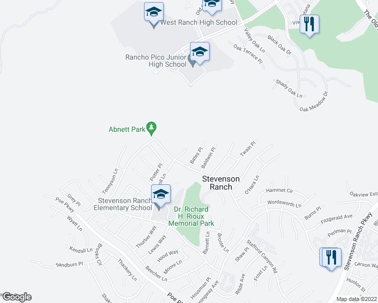 map of restaurants, bars, coffee shops, grocery stores, and more near 26134 Carroll Lane in Stevenson Ranch