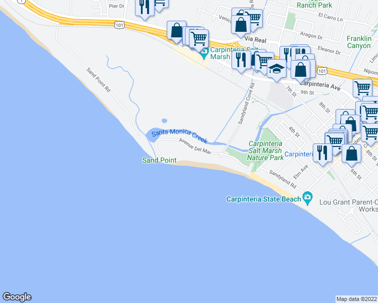 map of restaurants, bars, coffee shops, grocery stores, and more near 4347 Avenue Del Mar in Carpinteria