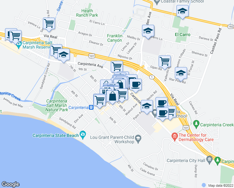 map of restaurants, bars, coffee shops, grocery stores, and more near 887 Linden Avenue in Carpinteria