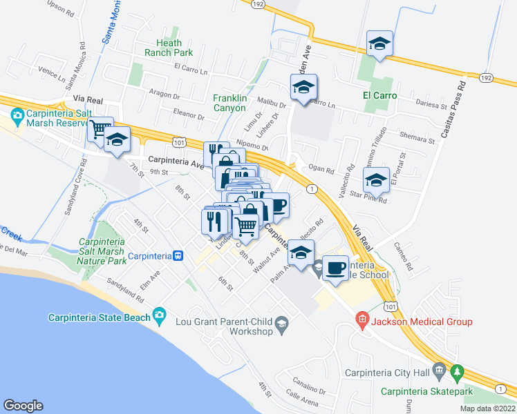 map of restaurants, bars, coffee shops, grocery stores, and more near Linden Avenue in Carpinteria