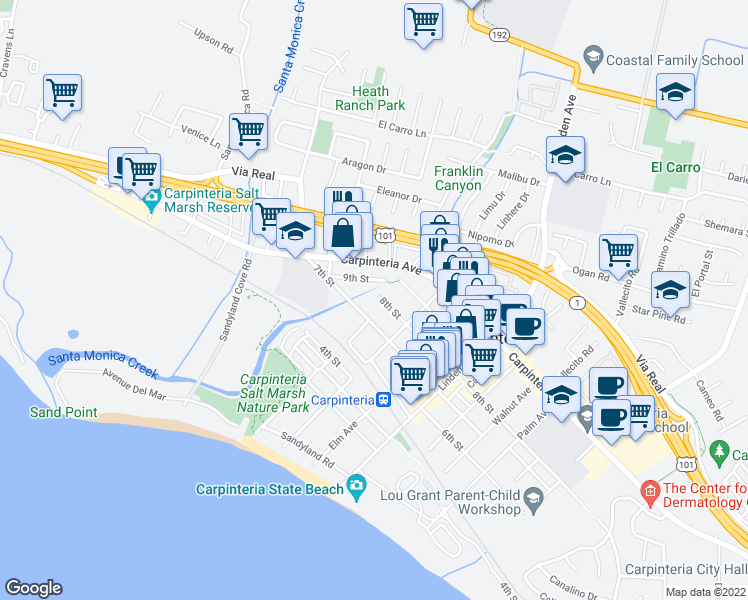 map of restaurants, bars, coffee shops, grocery stores, and more near 4705 8th Street in Carpinteria