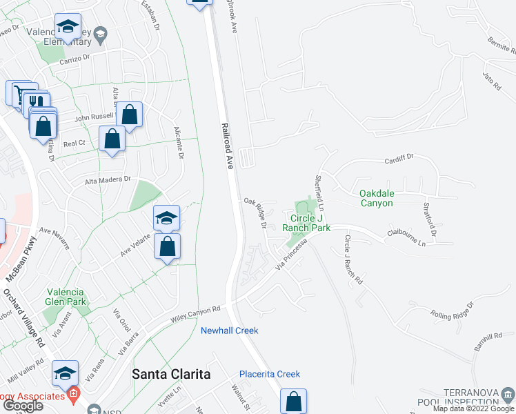 map of restaurants, bars, coffee shops, grocery stores, and more near 26534-26774 Oak Ridge Drive in Santa Clarita