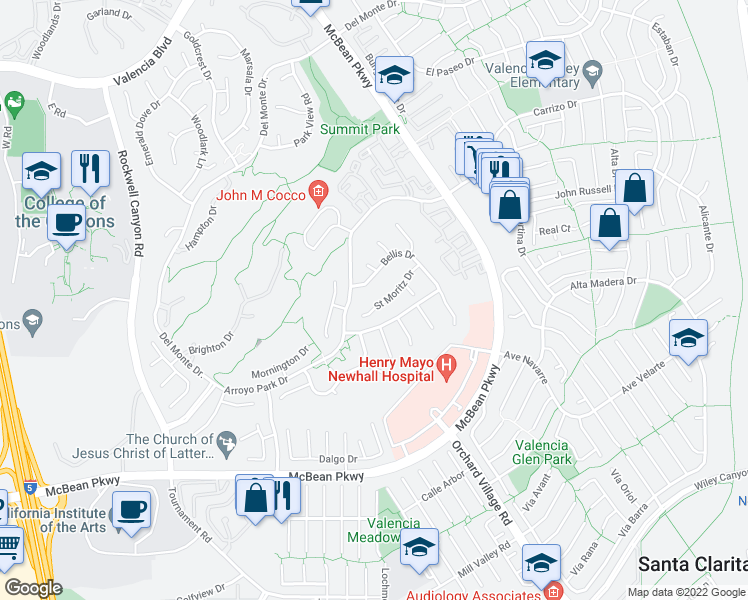 map of restaurants, bars, coffee shops, grocery stores, and more near 24123 Saint Moritz Drive in Santa Clarita