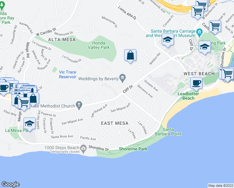 map of restaurants, bars, coffee shops, grocery stores, and more near 402 Vista De La Playa Lane in Santa Barbara