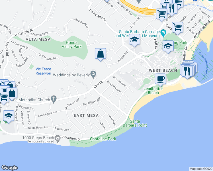 map of restaurants, bars, coffee shops, grocery stores, and more near 1110 Las Olas Avenue in Santa Barbara