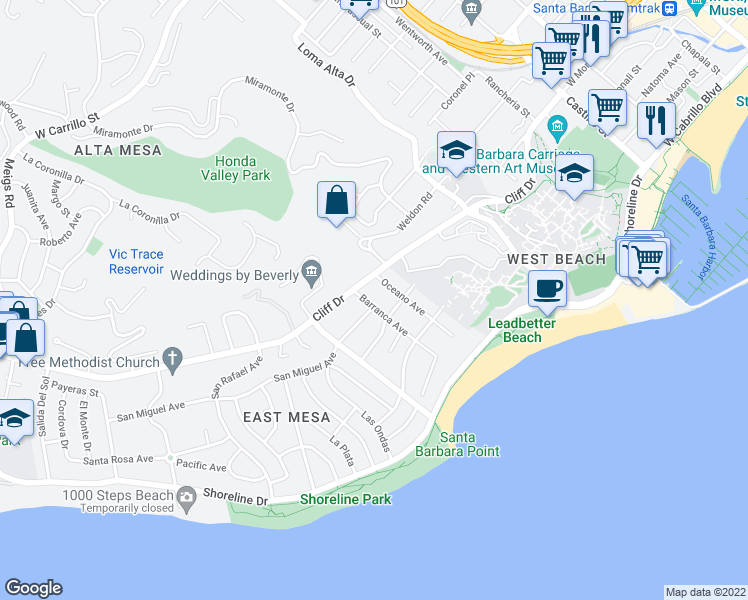 map of restaurants, bars, coffee shops, grocery stores, and more near 324 Barranca Avenue in Santa Barbara