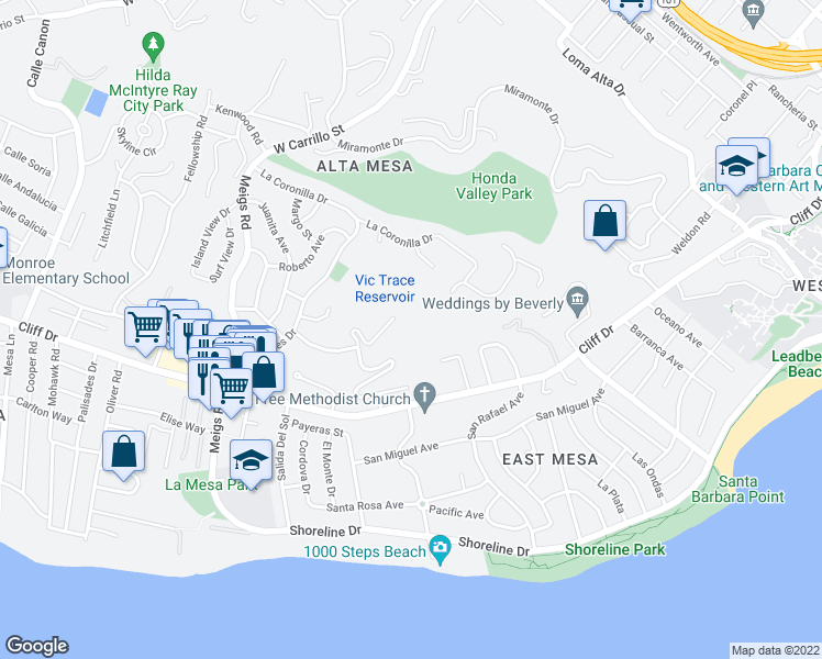 map of restaurants, bars, coffee shops, grocery stores, and more near 1704 La Vista Del Oceano in Santa Barbara