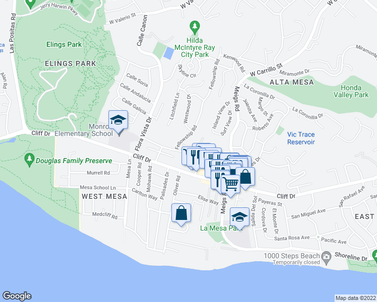 map of restaurants, bars, coffee shops, grocery stores, and more near 2122 Red Rose Way in Santa Barbara