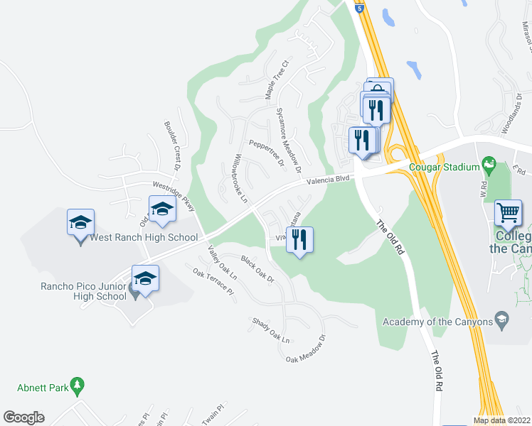 map of restaurants, bars, coffee shops, grocery stores, and more near 25605 Via Viejo in Stevenson Ranch