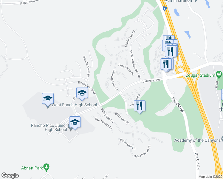 map of restaurants, bars, coffee shops, grocery stores, and more near 26806 Pine Cliff Place in Stevenson Ranch