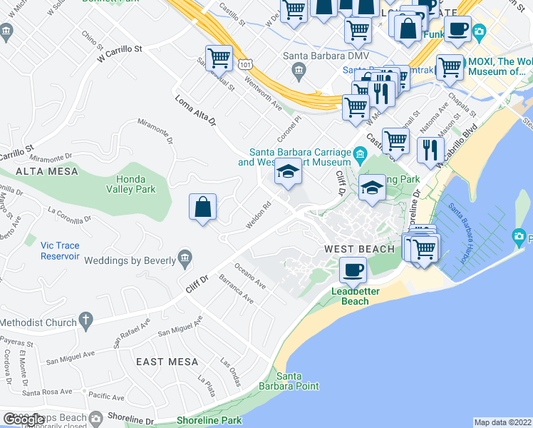map of restaurants, bars, coffee shops, grocery stores, and more near 821 Weldon Road in Santa Barbara