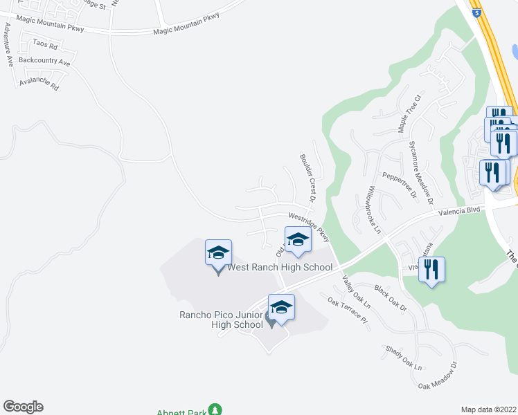 map of restaurants, bars, coffee shops, grocery stores, and more near W Shadow Rock Ln in Stevenson Ranch