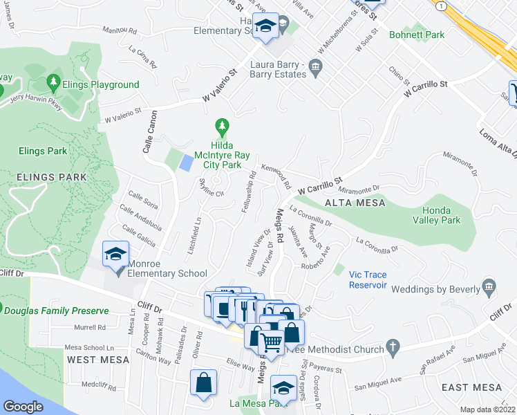 map of restaurants, bars, coffee shops, grocery stores, and more near 909 Calle Cortita in Santa Barbara