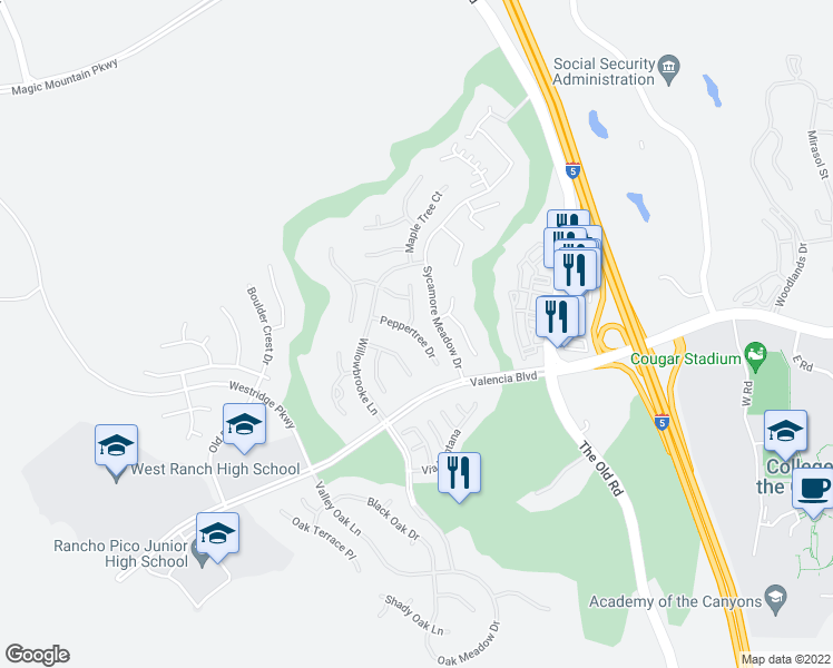 map of restaurants, bars, coffee shops, grocery stores, and more near Peppertree Drive in Stevenson Ranch