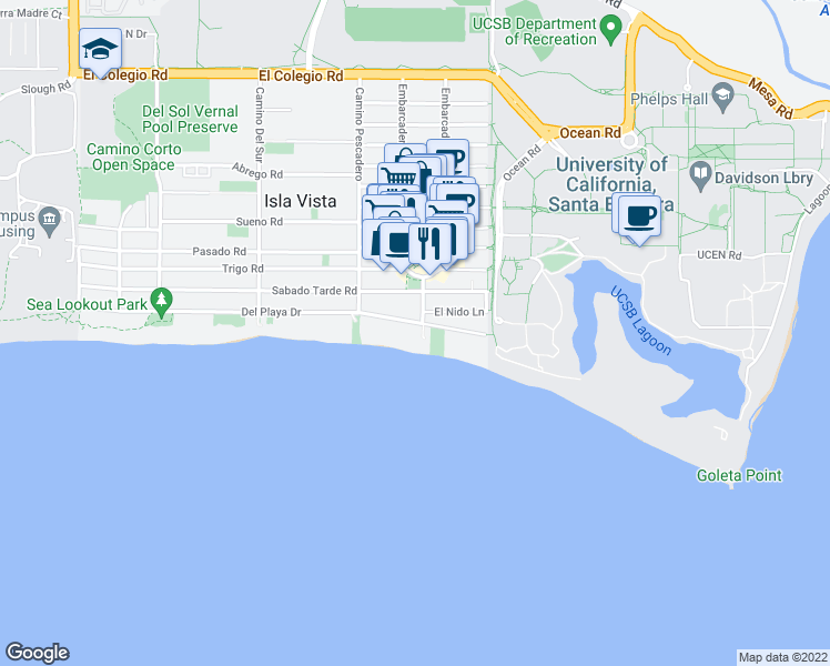 map of restaurants, bars, coffee shops, grocery stores, and more near 6555 Del Playa Drive in Goleta