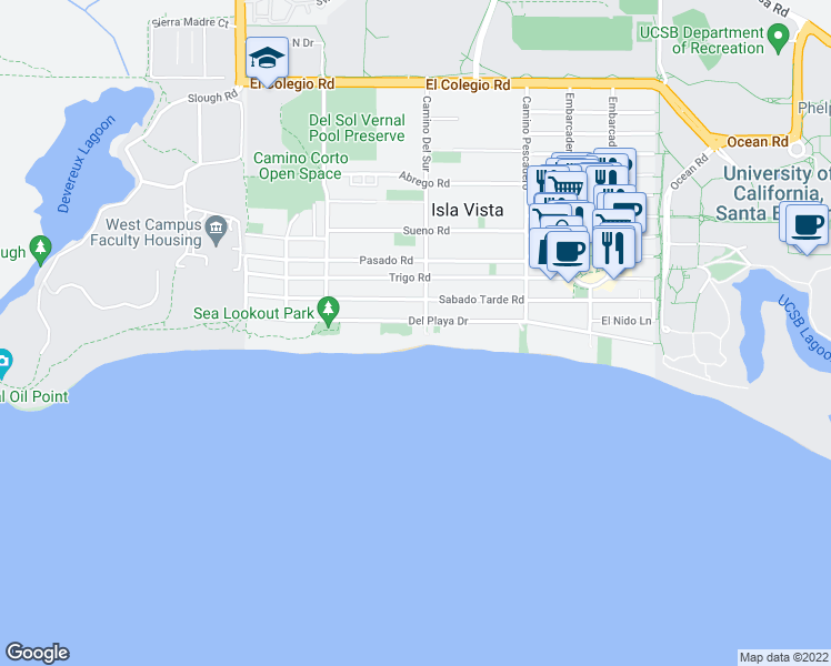 map of restaurants, bars, coffee shops, grocery stores, and more near 6709 Del Playa Drive in Goleta