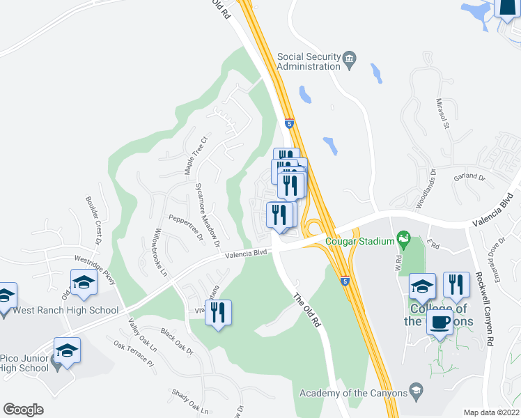 map of restaurants, bars, coffee shops, grocery stores, and more near 24353 Silver Aspen Way in Stevenson Ranch