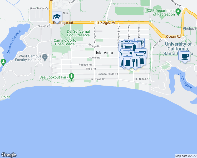 map of restaurants, bars, coffee shops, grocery stores, and more near Del Playa Drive in Isla Vista
