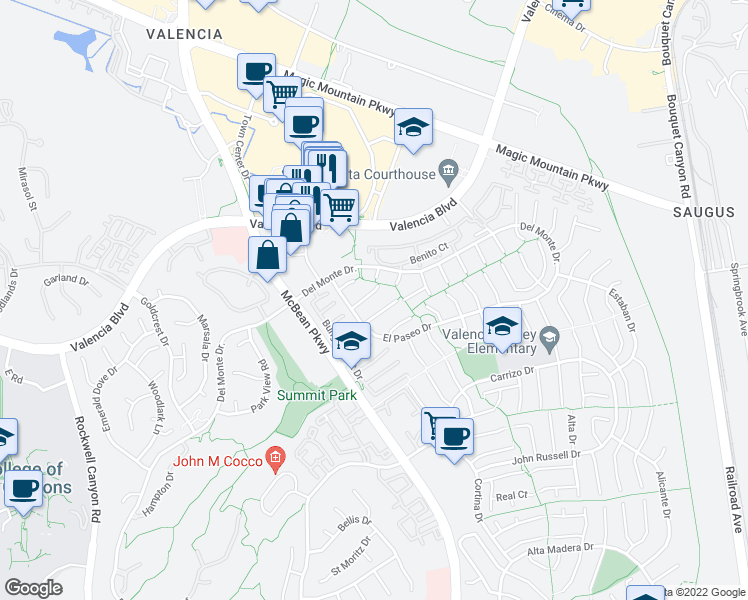 map of restaurants, bars, coffee shops, grocery stores, and more near 23958 Columbia Court in Santa Clarita
