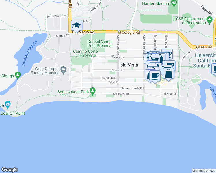 map of restaurants, bars, coffee shops, grocery stores, and more near 6740 Sabado Tarde Road in Goleta