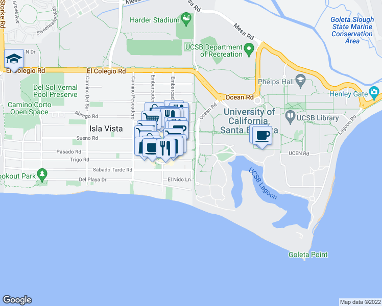 map of restaurants, bars, coffee shops, grocery stores, and more near 6503 Seville Road in Goleta