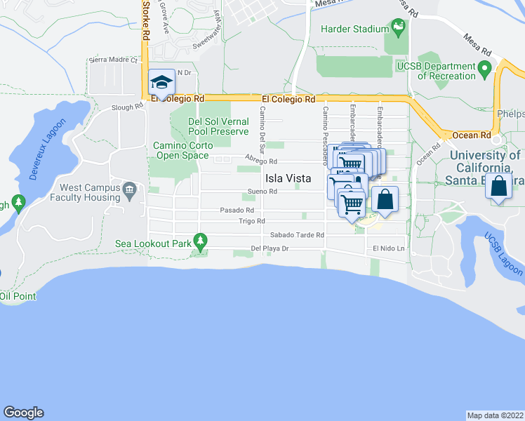 map of restaurants, bars, coffee shops, grocery stores, and more near Pasado Road in Isla Vista