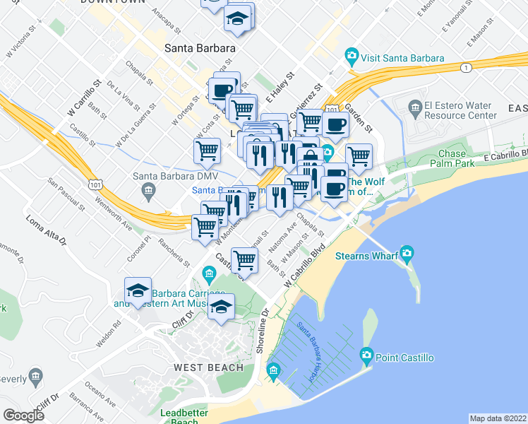 map of restaurants, bars, coffee shops, grocery stores, and more near 122 Los Aguajes Avenue in Santa Barbara