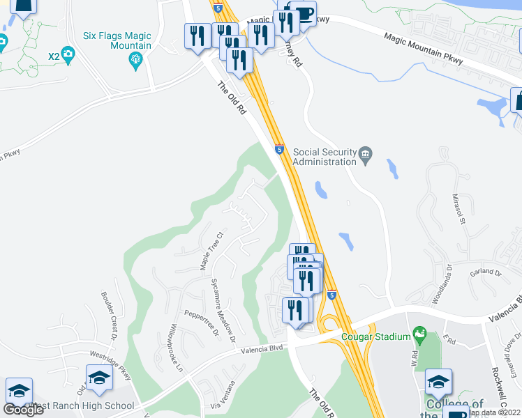 map of restaurants, bars, coffee shops, grocery stores, and more near 27252 Baviera Way in Stevenson Ranch