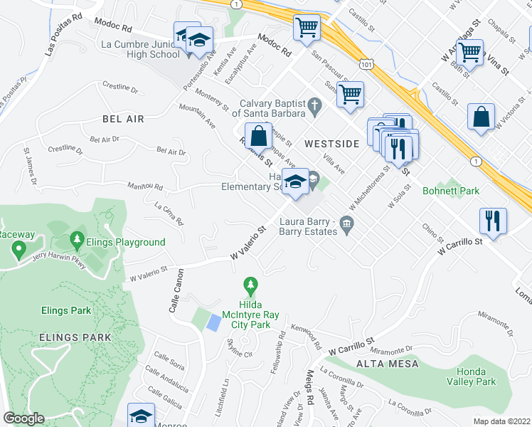 map of restaurants, bars, coffee shops, grocery stores, and more near 1710 Hillside Road in Santa Barbara