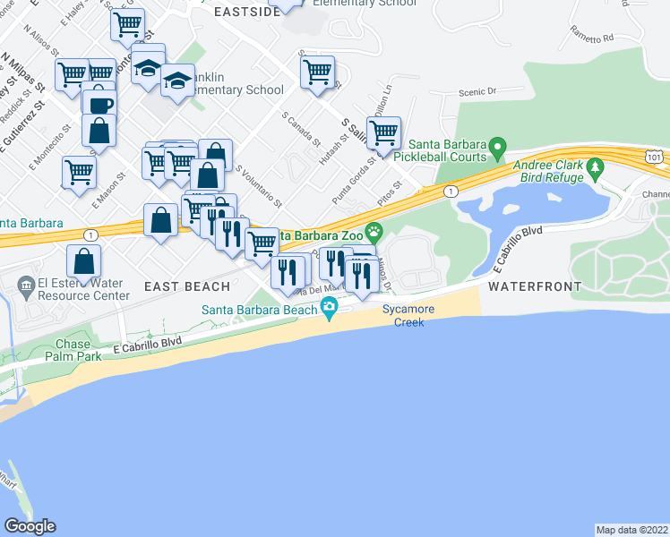map of restaurants, bars, coffee shops, grocery stores, and more near 450 Por La Mar Drive in Santa Barbara