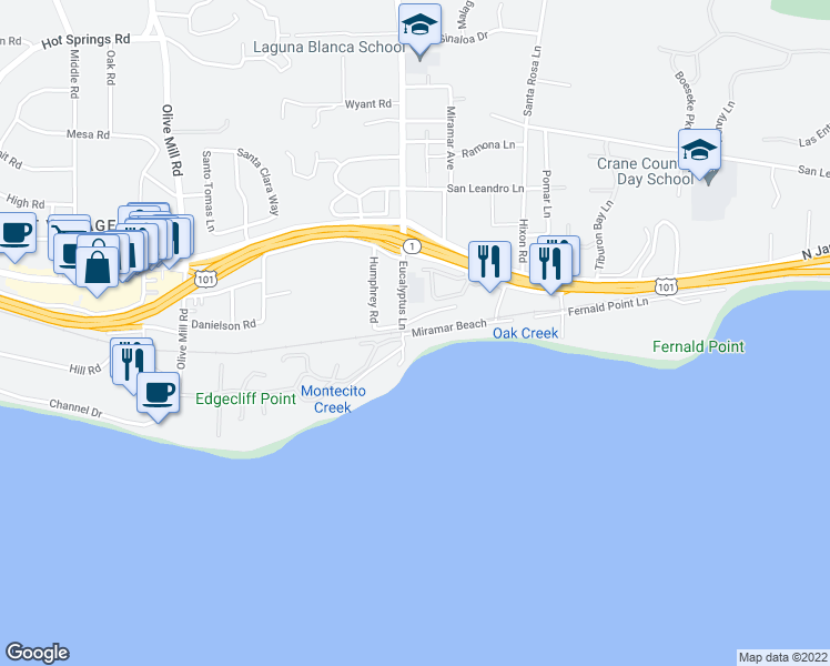 map of restaurants, bars, coffee shops, grocery stores, and more near 1506 Miramar Beach in Montecito