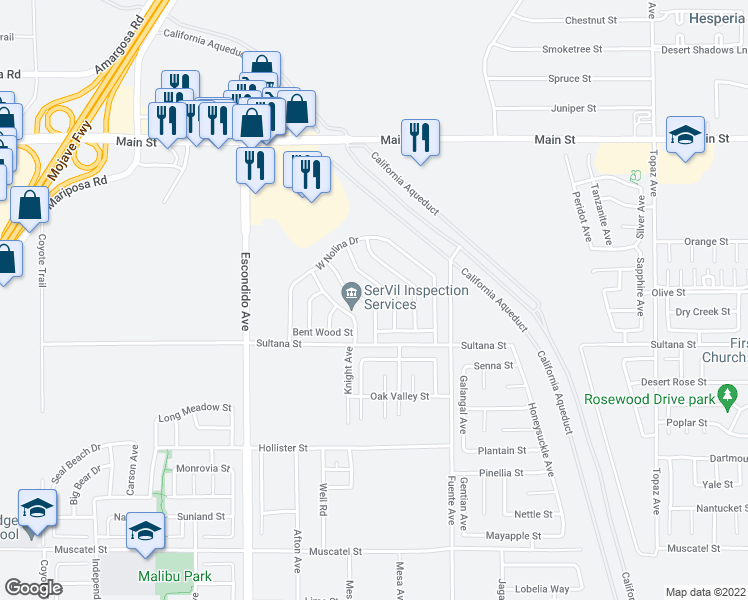 map of restaurants, bars, coffee shops, grocery stores, and more near 9367 Palo Verde Drive in Hesperia