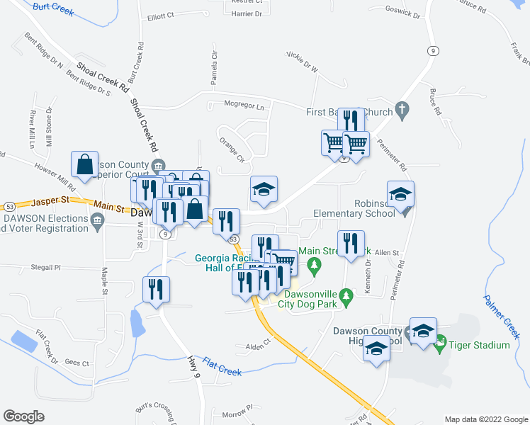 map of restaurants, bars, coffee shops, grocery stores, and more near 388 Highway 9 in Dawsonville