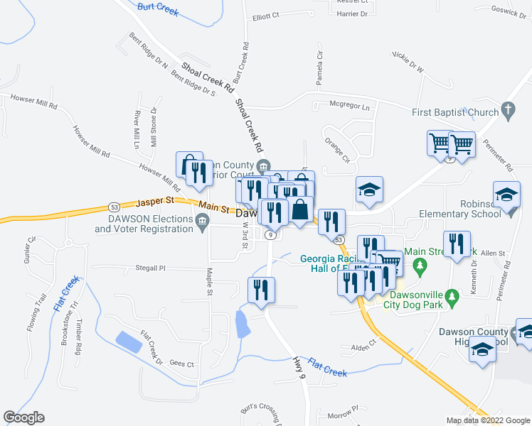 map of restaurants, bars, coffee shops, grocery stores, and more near in Dawsonville