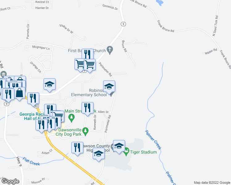 map of restaurants, bars, coffee shops, grocery stores, and more near 877-999 Perimeter Road in Dawsonville
