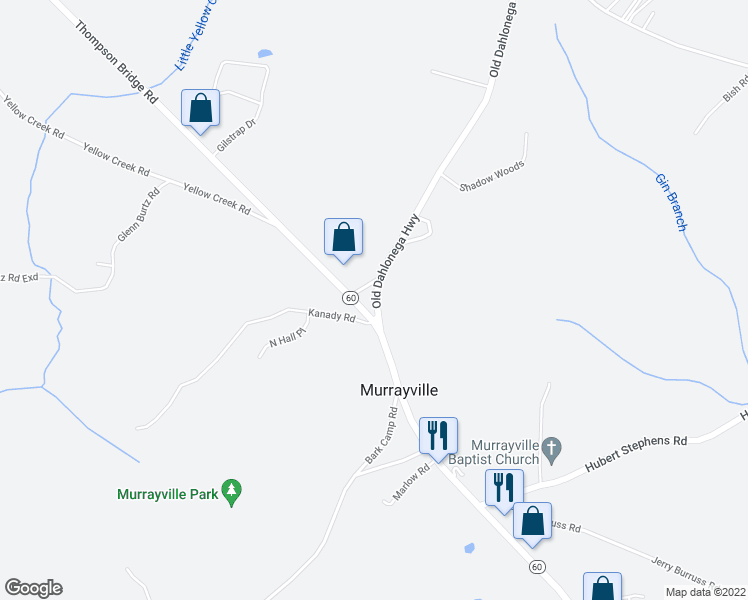 map of restaurants, bars, coffee shops, grocery stores, and more near 306 Old Dahlonega Highway in Murrayville