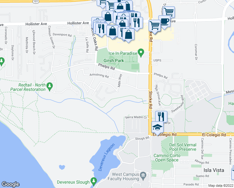 map of restaurants, bars, coffee shops, grocery stores, and more near 6981 Scripps Crescent Street in Goleta