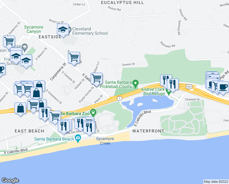 map of restaurants, bars, coffee shops, grocery stores, and more near 1423 Park Place in Santa Barbara